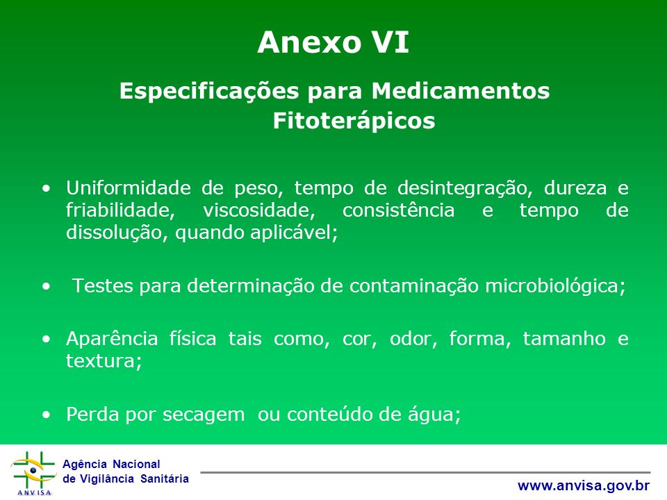 Especificações para Medicamentos Fitoterápicos