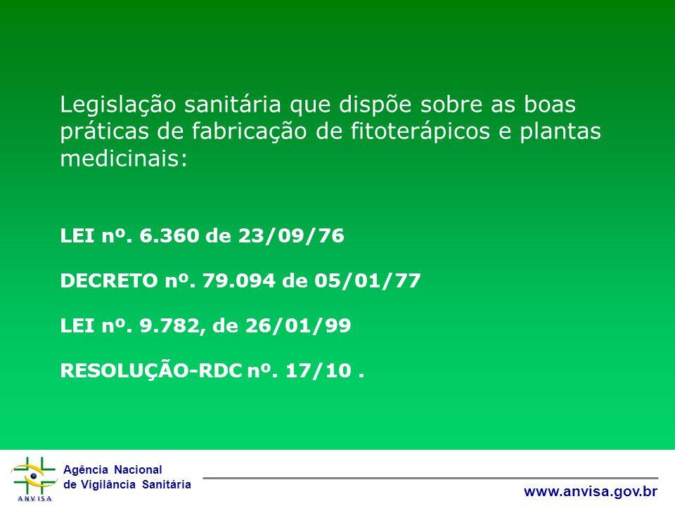 Legislação sanitária que dispõe sobre as boas práticas de fabricação de fitoterápicos e plantas medicinais: