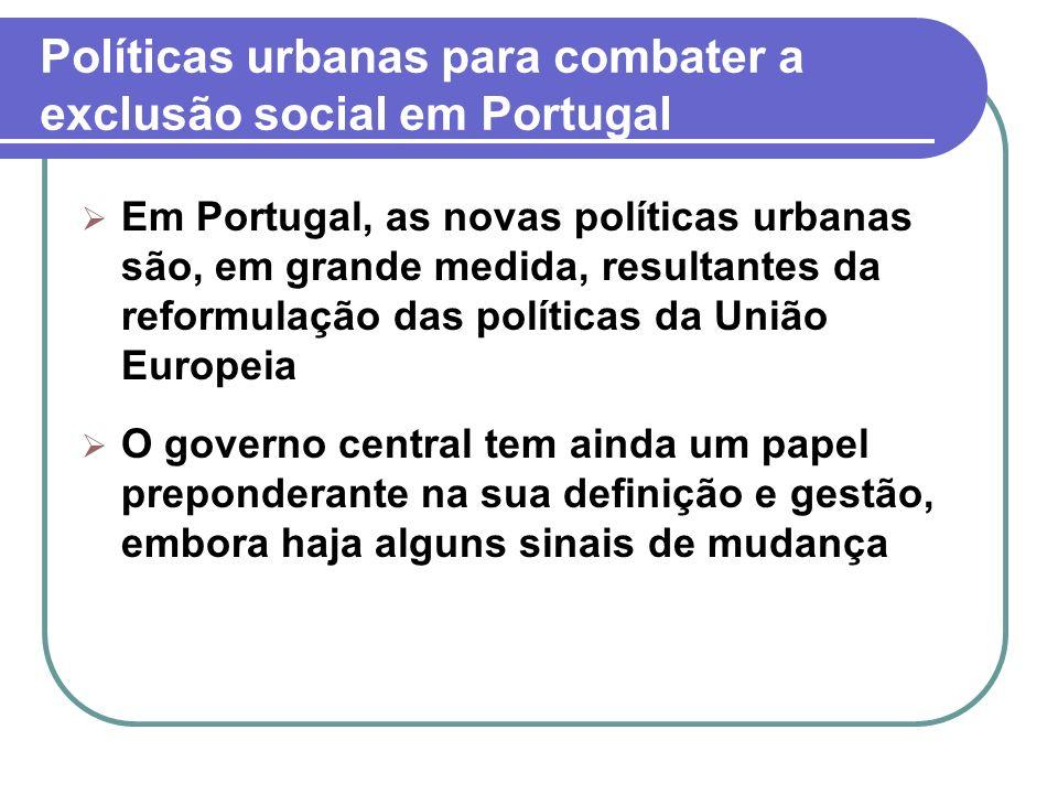 Políticas urbanas para combater a exclusão social em Portugal