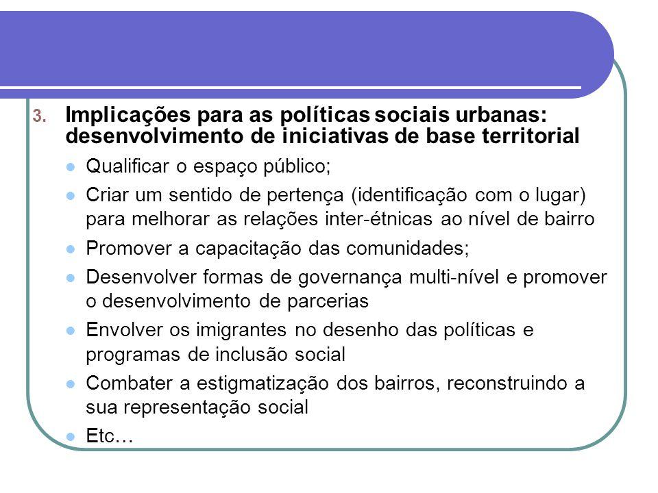 Implicações para as políticas sociais urbanas: desenvolvimento de iniciativas de base territorial