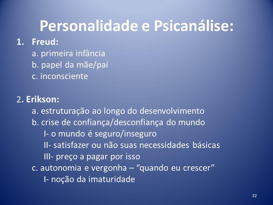 Personalidade e Psicanálise: