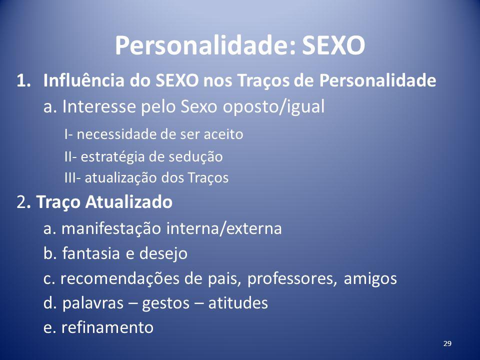 Personalidade: SEXO Influência do SEXO nos Traços de Personalidade
