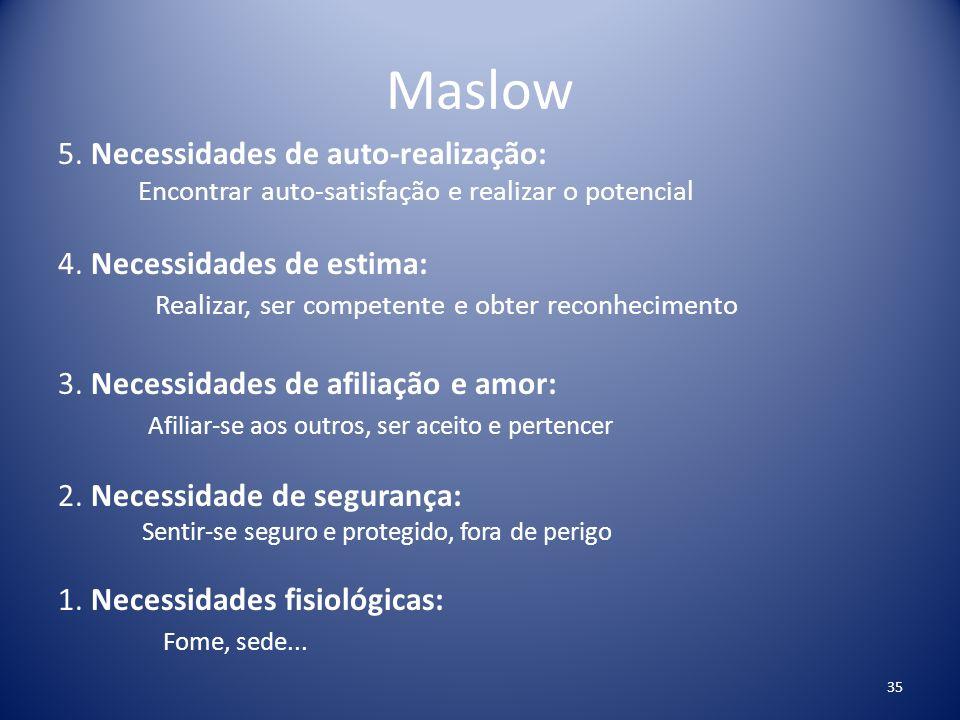 Maslow 5. Necessidades de auto-realização: 4. Necessidades de estima: