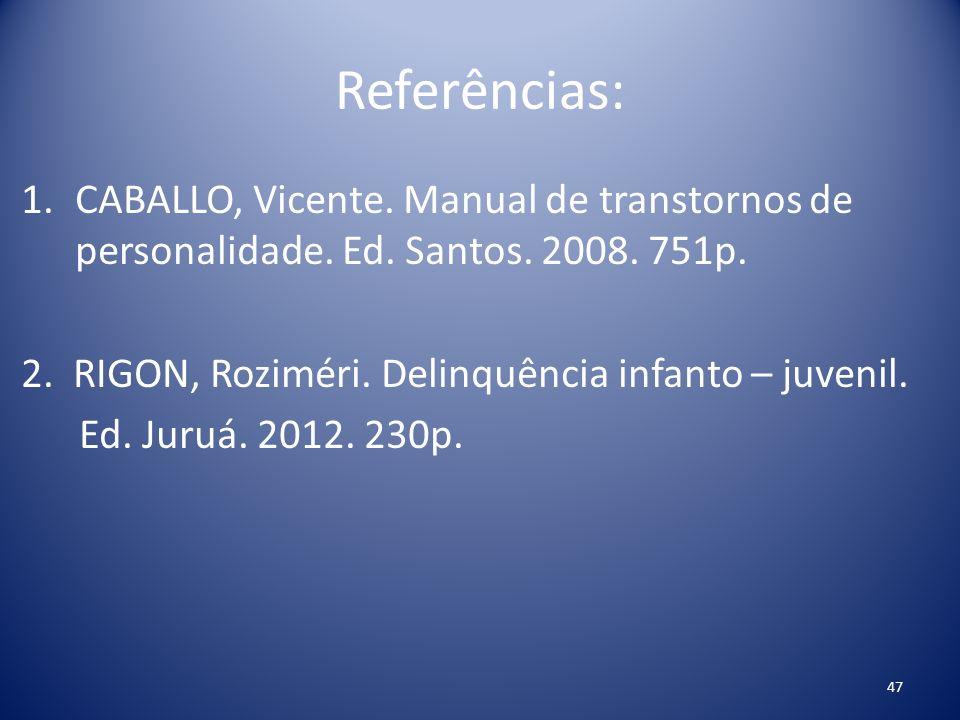 Referências: CABALLO, Vicente. Manual de transtornos de personalidade. Ed. Santos. 2008. 751p. 2. RIGON, Roziméri. Delinquência infanto – juvenil.