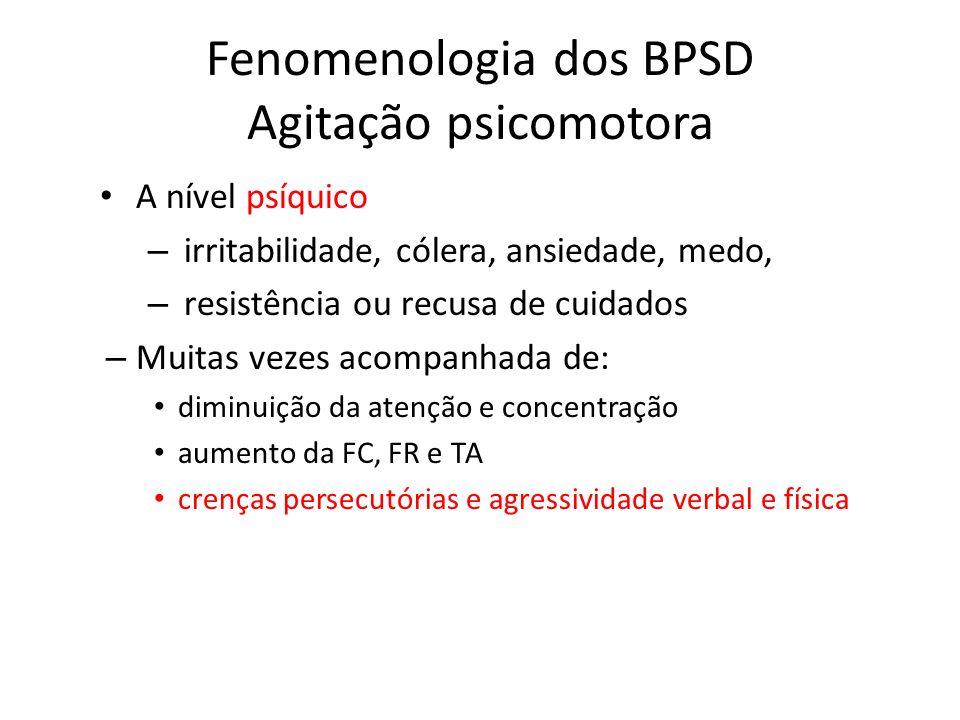 Fenomenologia dos BPSD Agitação psicomotora