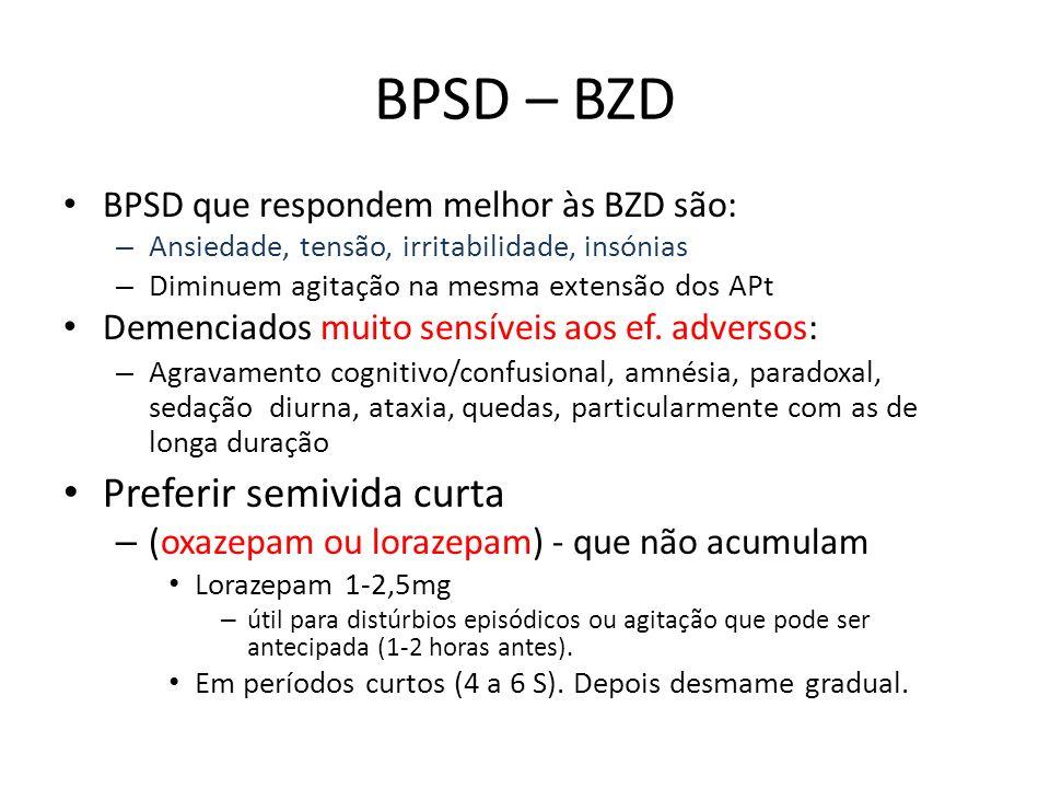 BPSD – BZD Preferir semivida curta