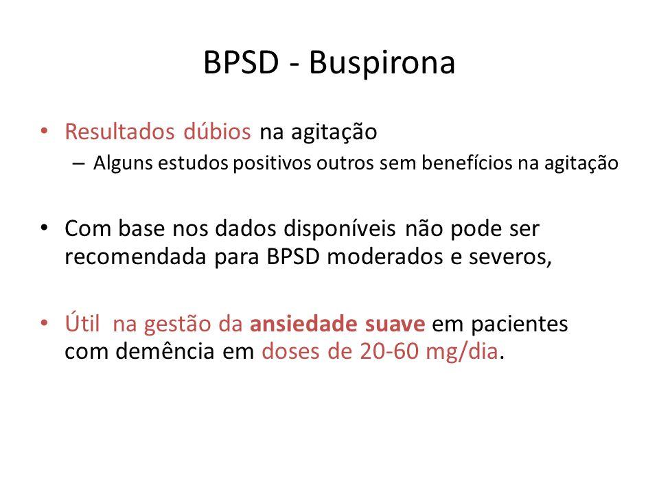 BPSD - Buspirona Resultados dúbios na agitação
