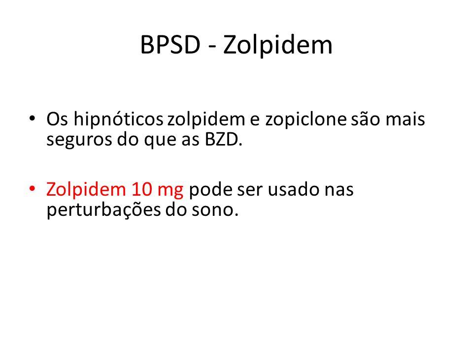 BPSD - Zolpidem Os hipnóticos zolpidem e zopiclone são mais seguros do que as BZD.