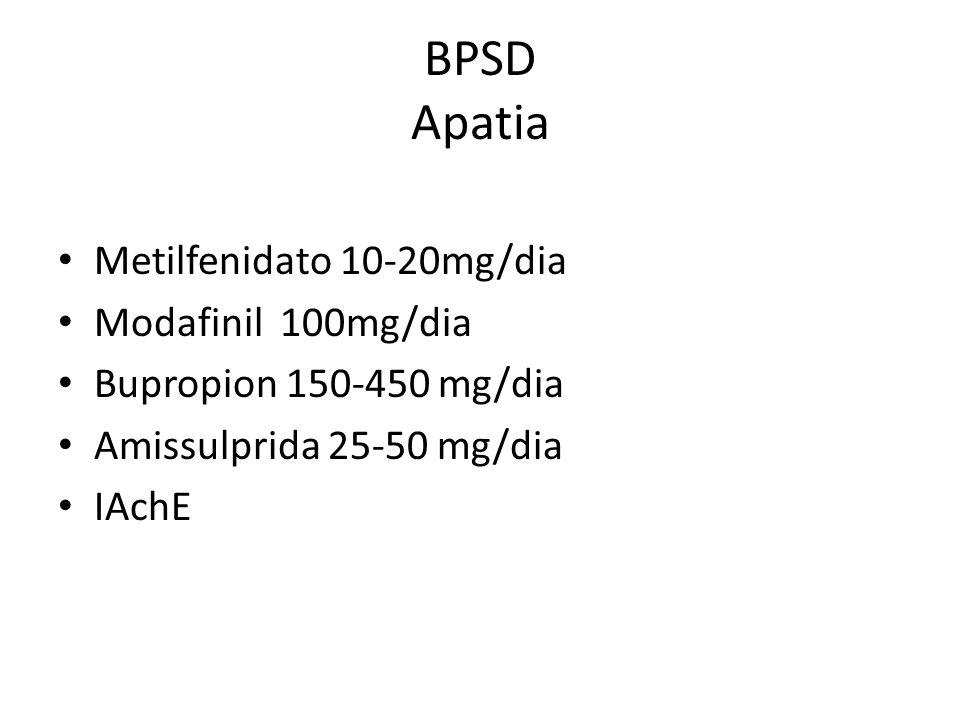 BPSD Apatia Metilfenidato 10-20mg/dia Modafinil 100mg/dia