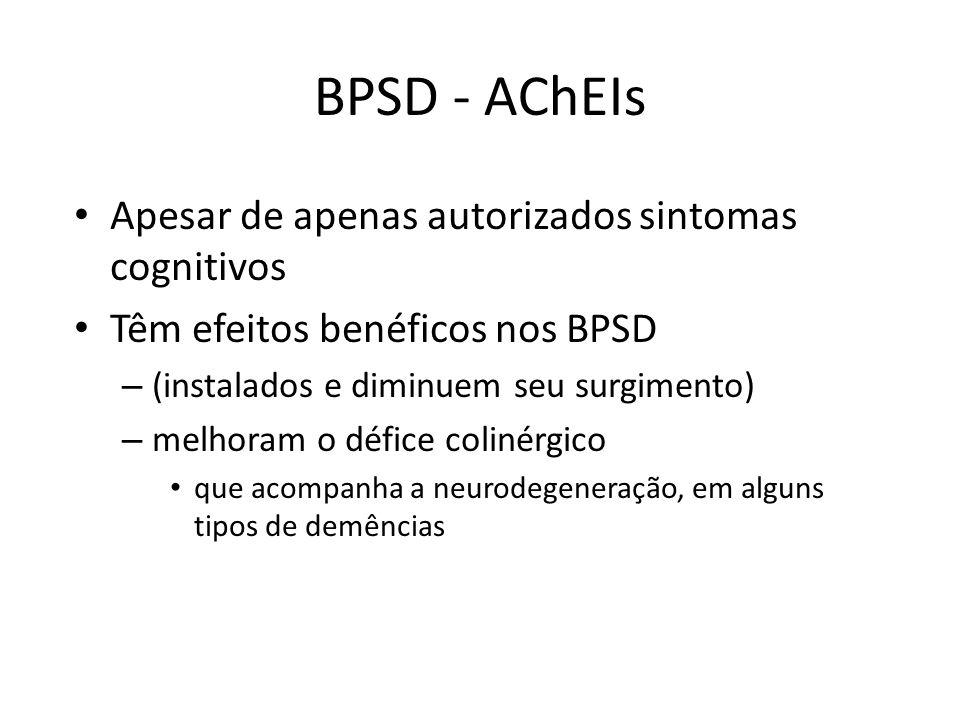BPSD - AChEIs Apesar de apenas autorizados sintomas cognitivos