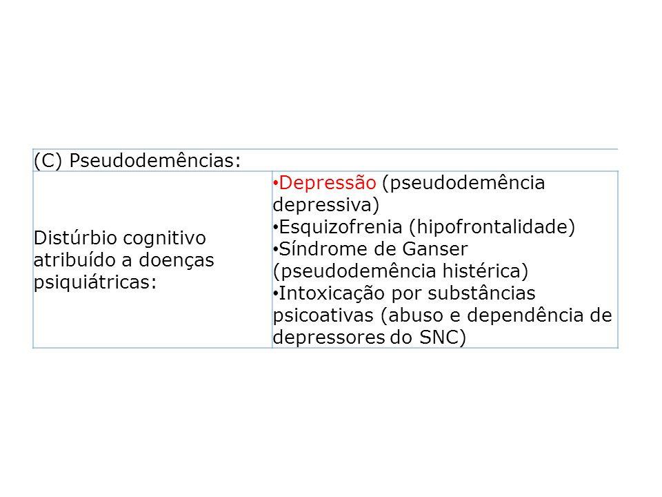 (C) Pseudodemências: Distúrbio cognitivo atribuído a doenças psiquiátricas: Depressão (pseudodemência depressiva)