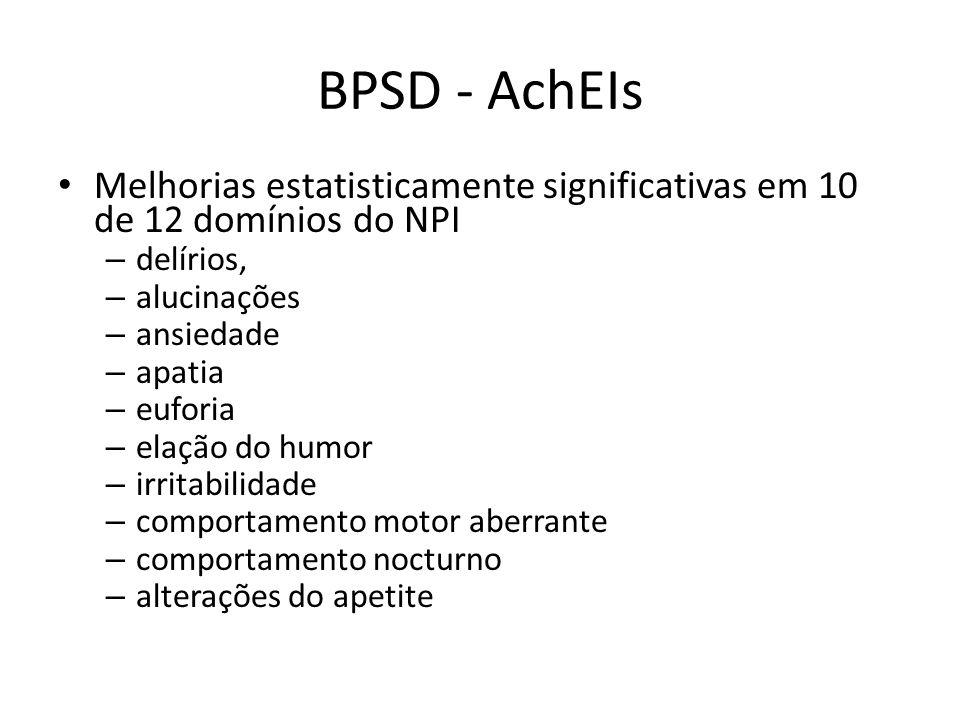 BPSD - AchEIs Melhorias estatisticamente significativas em 10 de 12 domínios do NPI. delírios, alucinações.