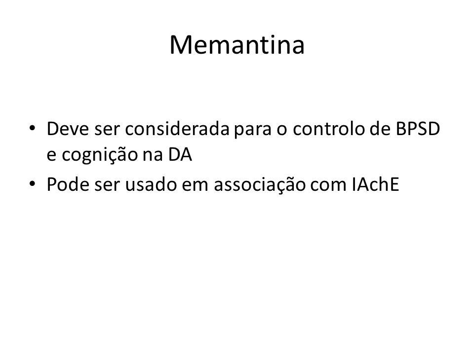 Memantina Deve ser considerada para o controlo de BPSD e cognição na DA.