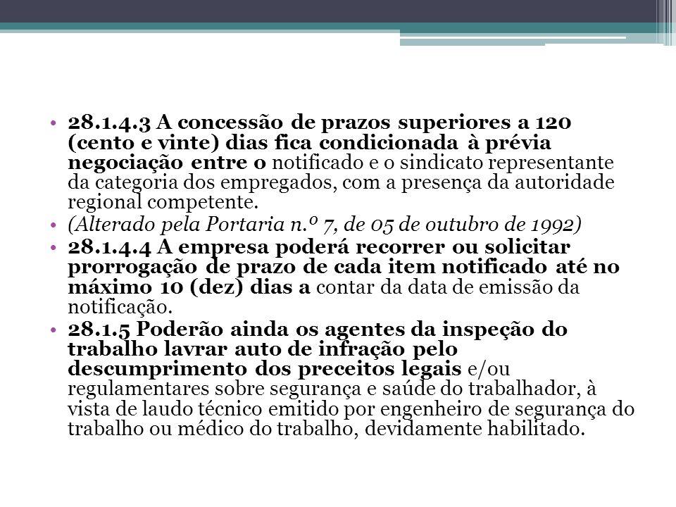 28.1.4.3 A concessão de prazos superiores a 120 (cento e vinte) dias fica condicionada à prévia negociação entre o notificado e o sindicato representante da categoria dos empregados, com a presença da autoridade regional competente.