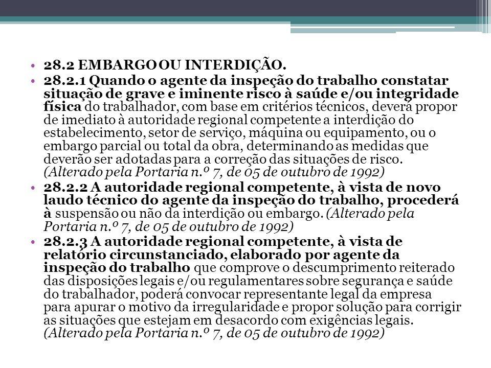 28.2 EMBARGO OU INTERDIÇÃO.