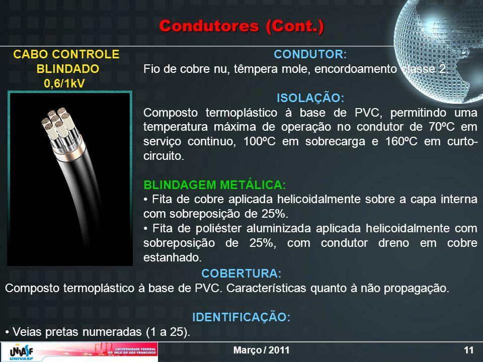 Condutores (Cont.) CABO CONTROLE BLINDADO 0,6/1kV