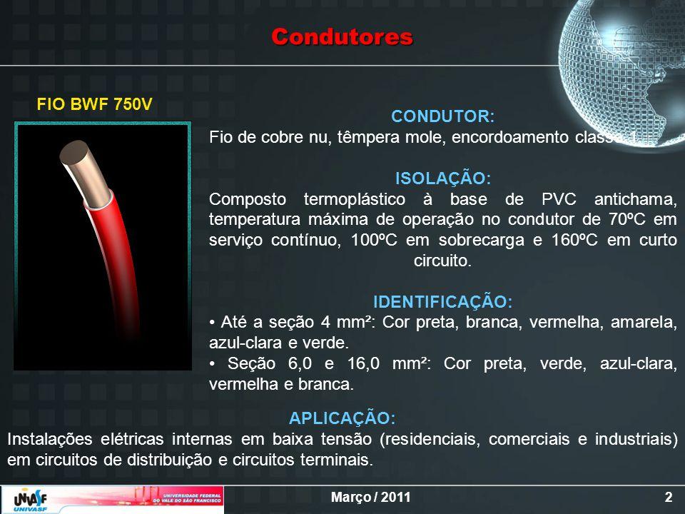 Condutores FIO BWF 750V. CONDUTOR: Fio de cobre nu, têmpera mole, encordoamento classe 1.
