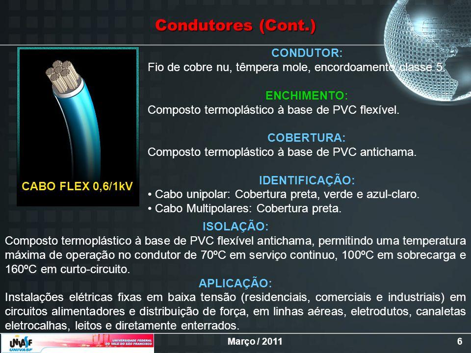 Condutores (Cont.) CONDUTOR: Fio de cobre nu, têmpera mole, encordoamento classe 5. ENCHIMENTO: Composto termoplástico à base de PVC flexível.