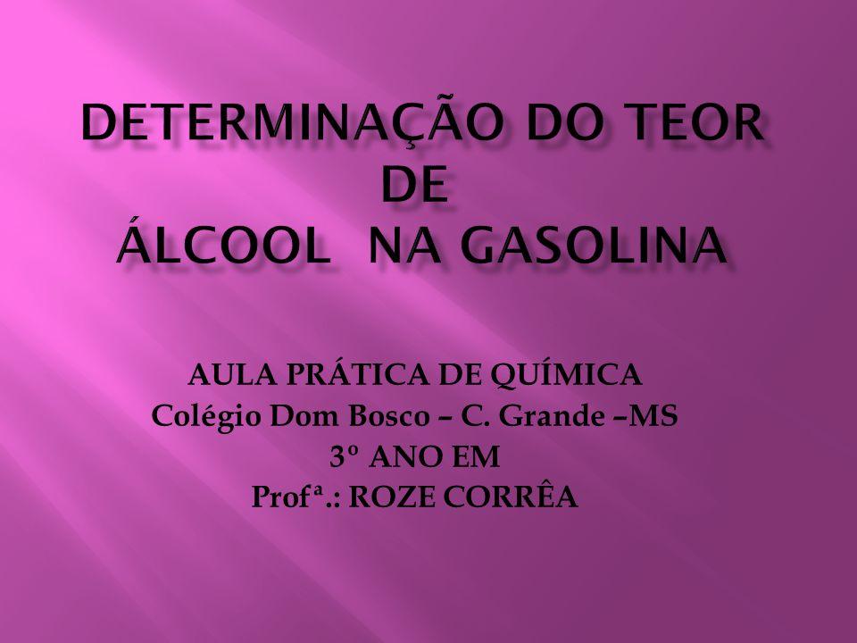 DETERMINAÇÃO DO TEOR DE ÁLCOOL NA GASOLINA