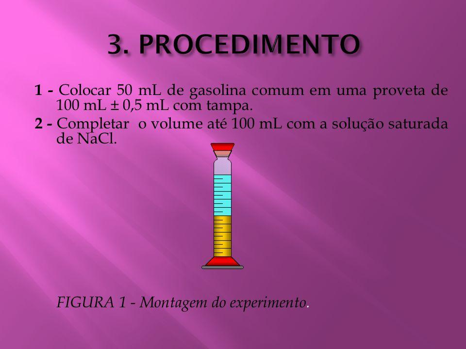 3. PROCEDIMENTO 1 - Colocar 50 mL de gasolina comum em uma proveta de 100 mL ± 0,5 mL com tampa.
