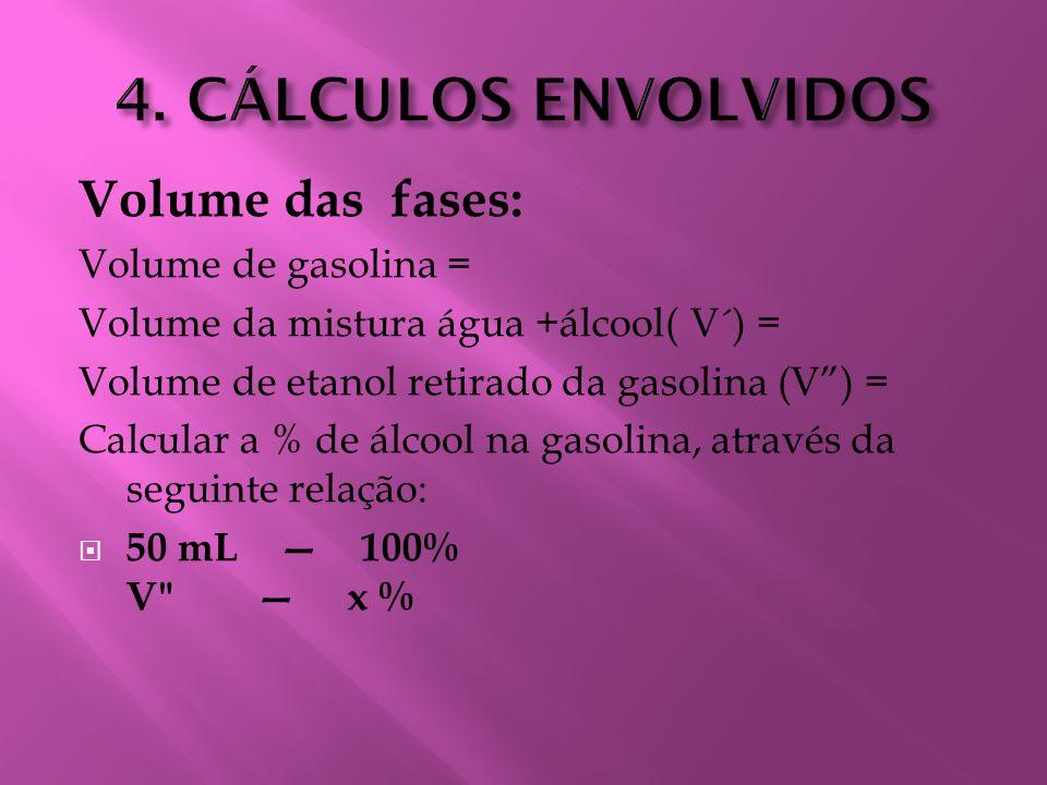 4. CÁLCULOS ENVOLVIDOS Volume das fases: Volume de gasolina =