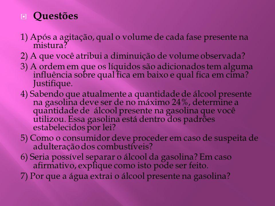 Questões 1) Após a agitação, qual o volume de cada fase presente na mistura 2) A que você atribui a diminuição de volume observada