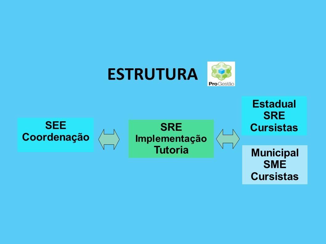 ESTRUTURA Estadual SRE Cursistas SEE SRE Coordenação Tutoria