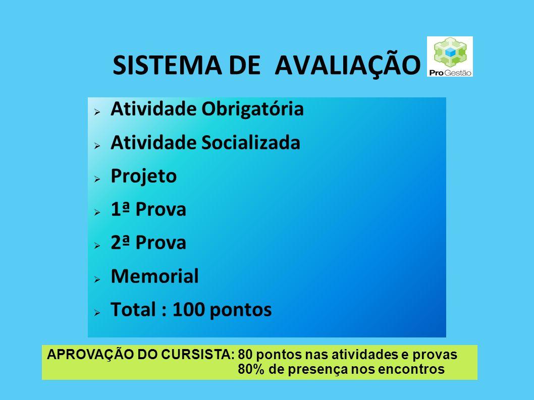 SISTEMA DE AVALIAÇÃO Atividade Obrigatória Atividade Socializada