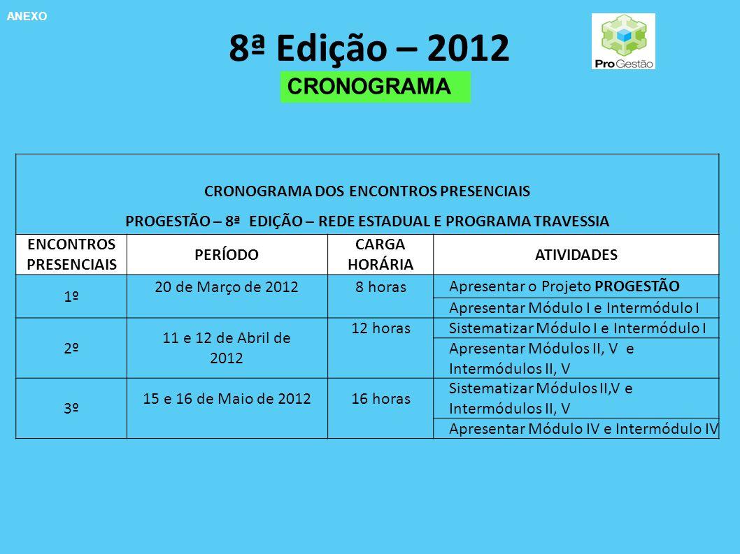 8ª Edição – 2012 CRONOGRAMA CRONOGRAMA DOS ENCONTROS PRESENCIAIS