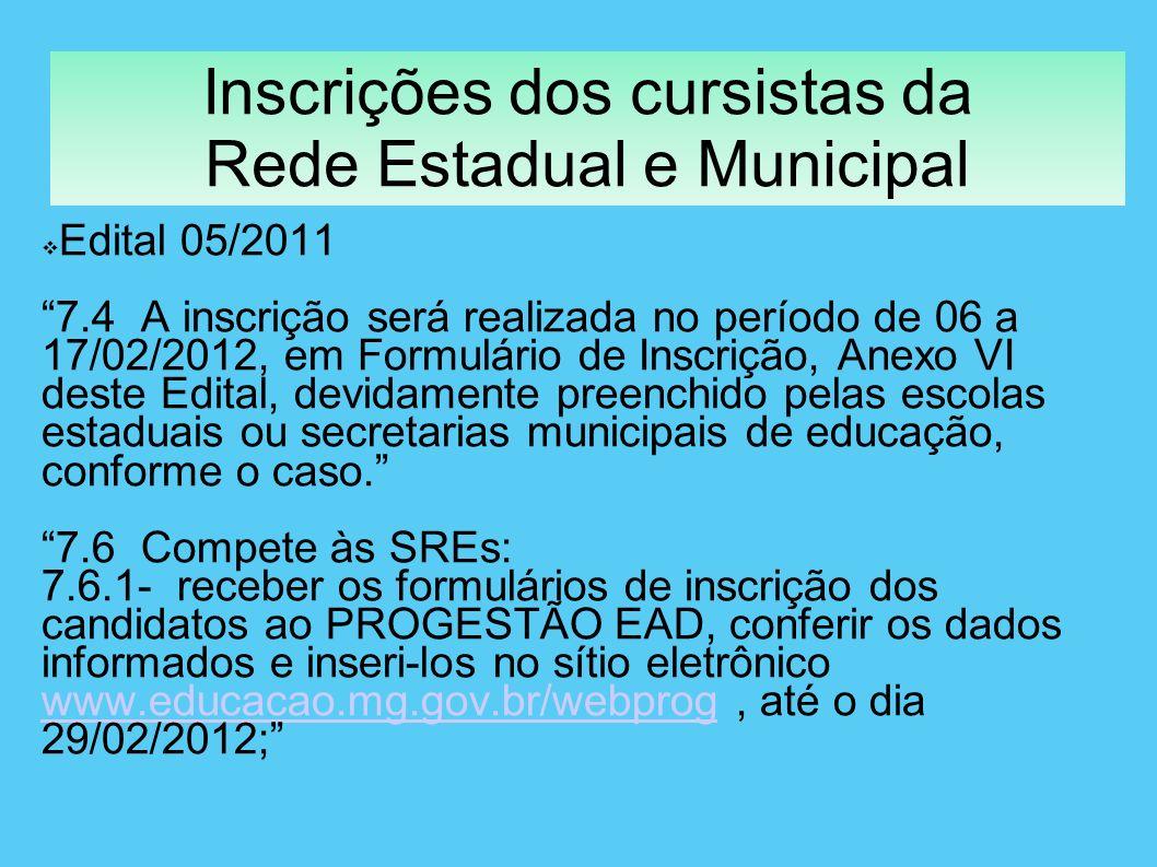 Inscrições dos cursistas da Rede Estadual e Municipal