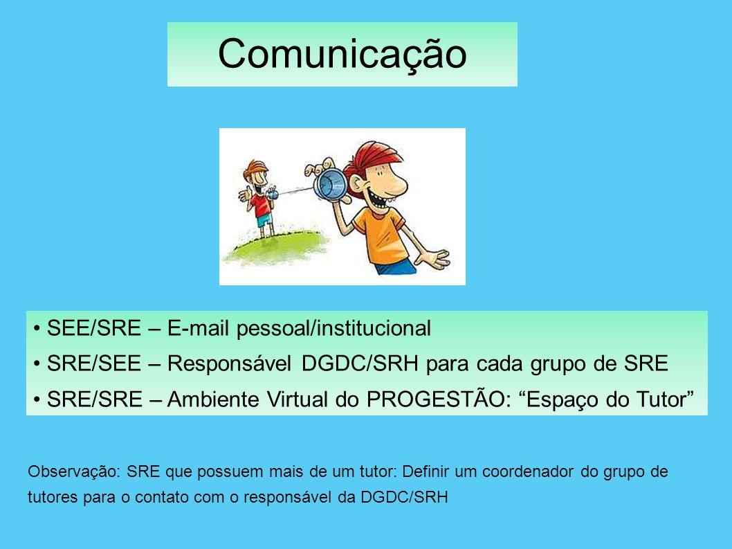 Comunicação SEE/SRE – E-mail pessoal/institucional