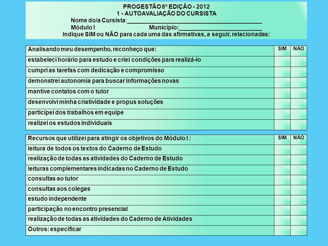 1 - AUTOAVALIAÇÃO DO CURSISTA