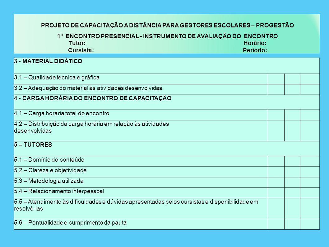 PROJETO DE CAPACITAÇÃO A DISTÂNCIA PARA GESTORES ESCOLARES – PROGESTÃO