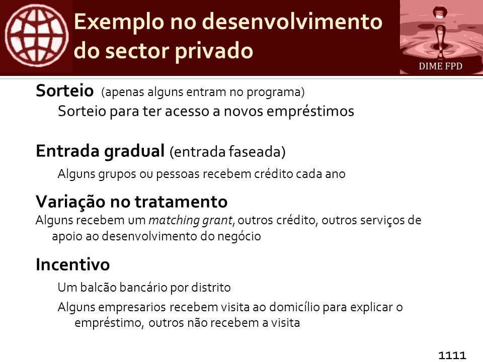 Exemplo no desenvolvimento do sector privado
