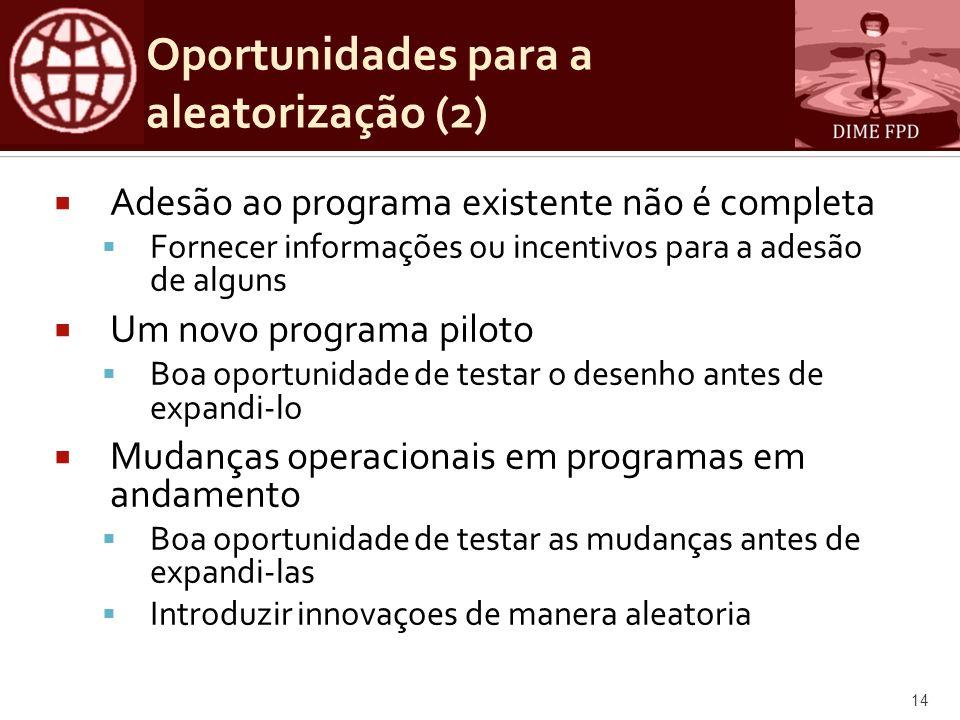 Oportunidades para a aleatorização (2)