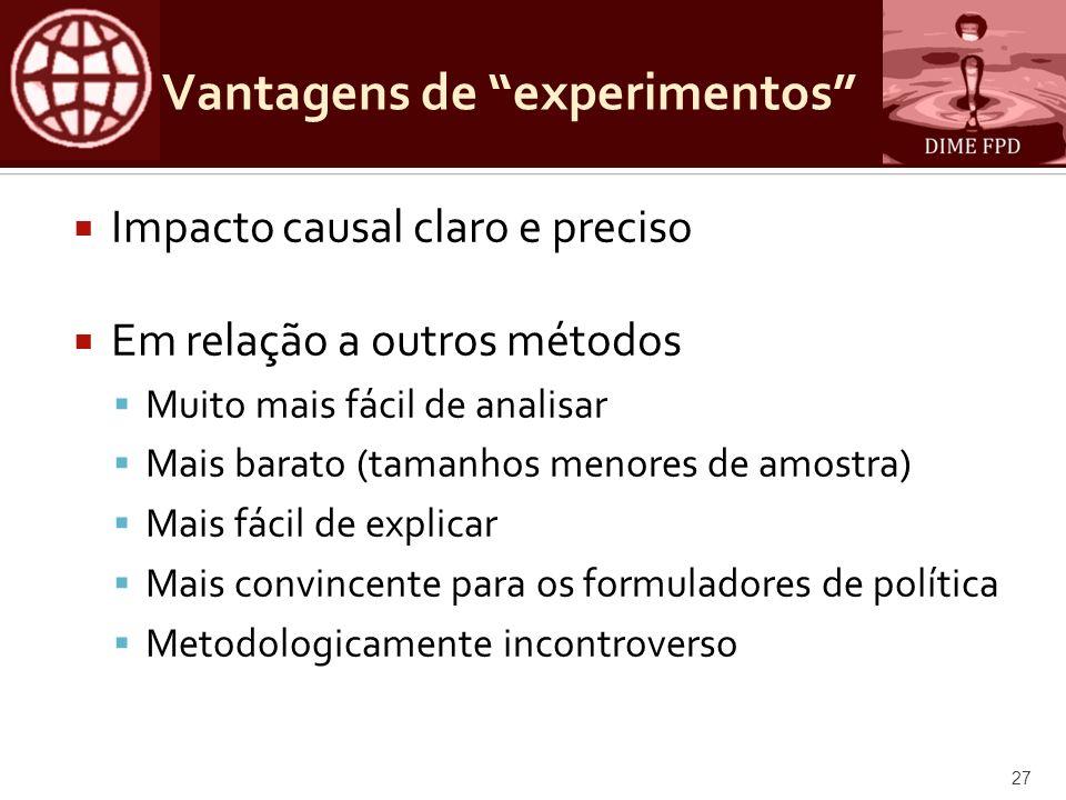 Vantagens de experimentos