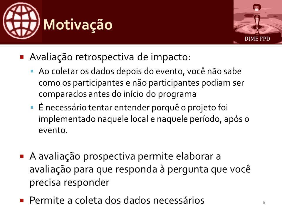 Motivação Avaliação retrospectiva de impacto: