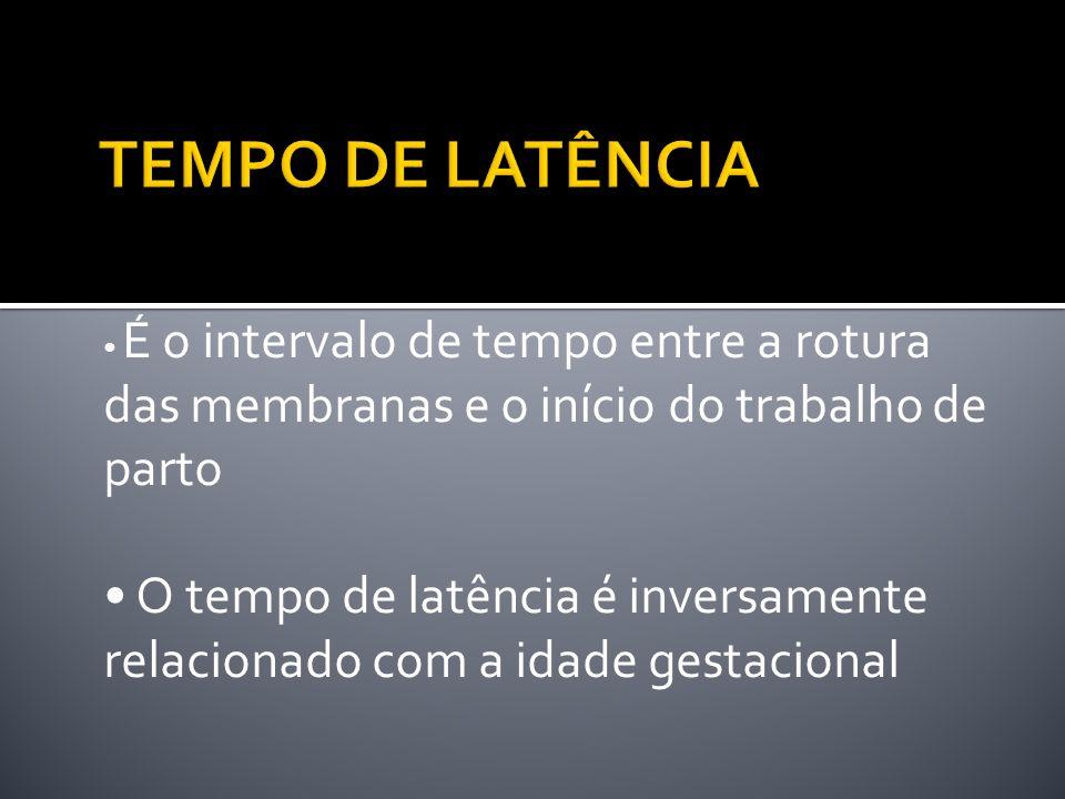TEMPO DE LATÊNCIA • É o intervalo de tempo entre a rotura das membranas e o início do trabalho de parto.