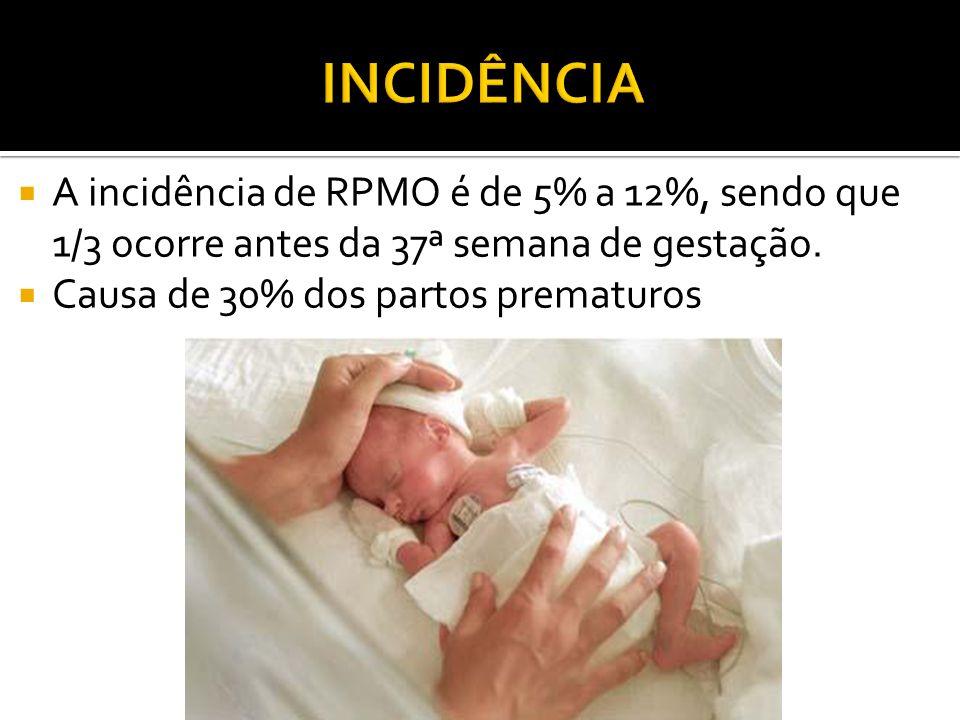 INCIDÊNCIA A incidência de RPMO é de 5% a 12%, sendo que 1/3 ocorre antes da 37ª semana de gestação.
