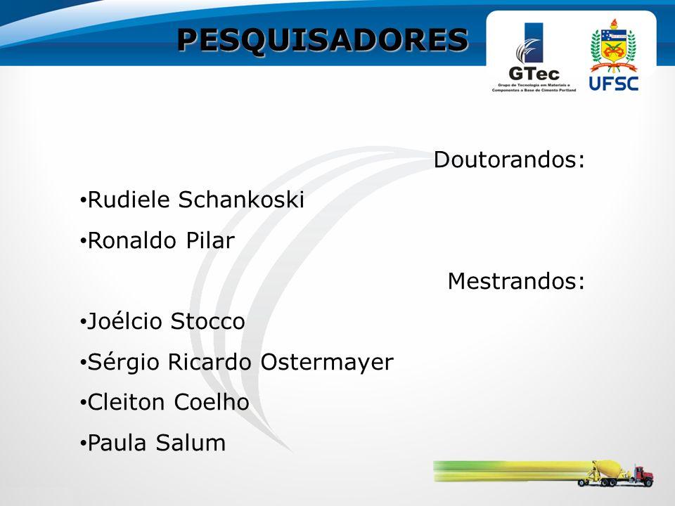 PESQUISADORES Doutorandos: Rudiele Schankoski Ronaldo Pilar