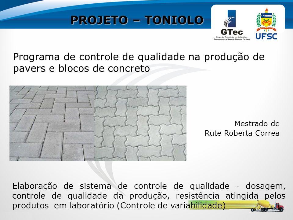 PROJETO – TONIOLO Programa de controle de qualidade na produção de pavers e blocos de concreto. Mestrado de.