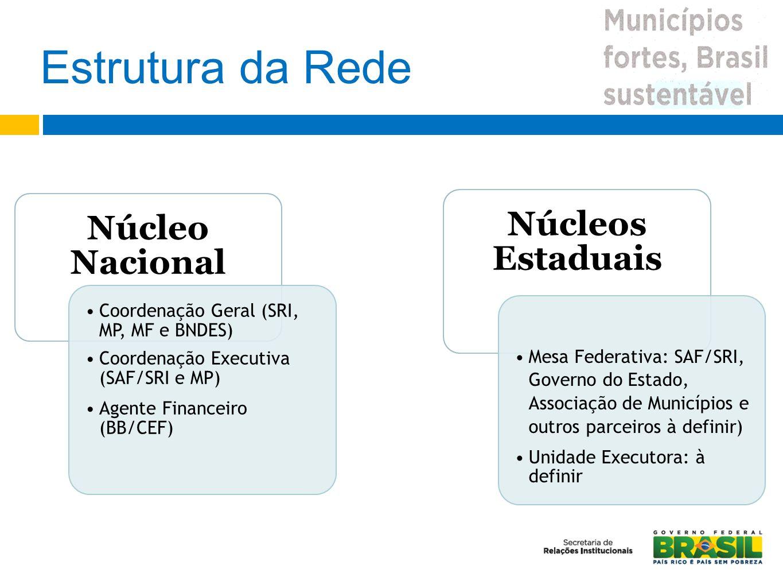Estrutura da Rede Coordenação Geral (SRI, MP, MF e BNDES)