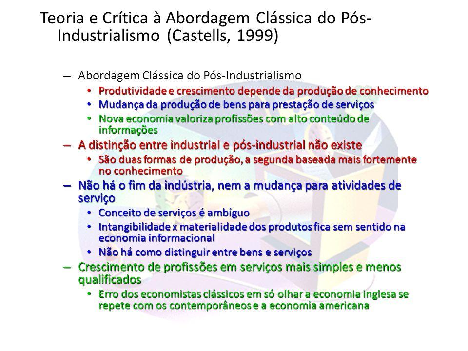 Teoria e Crítica à Abordagem Clássica do Pós-Industrialismo (Castells, 1999)