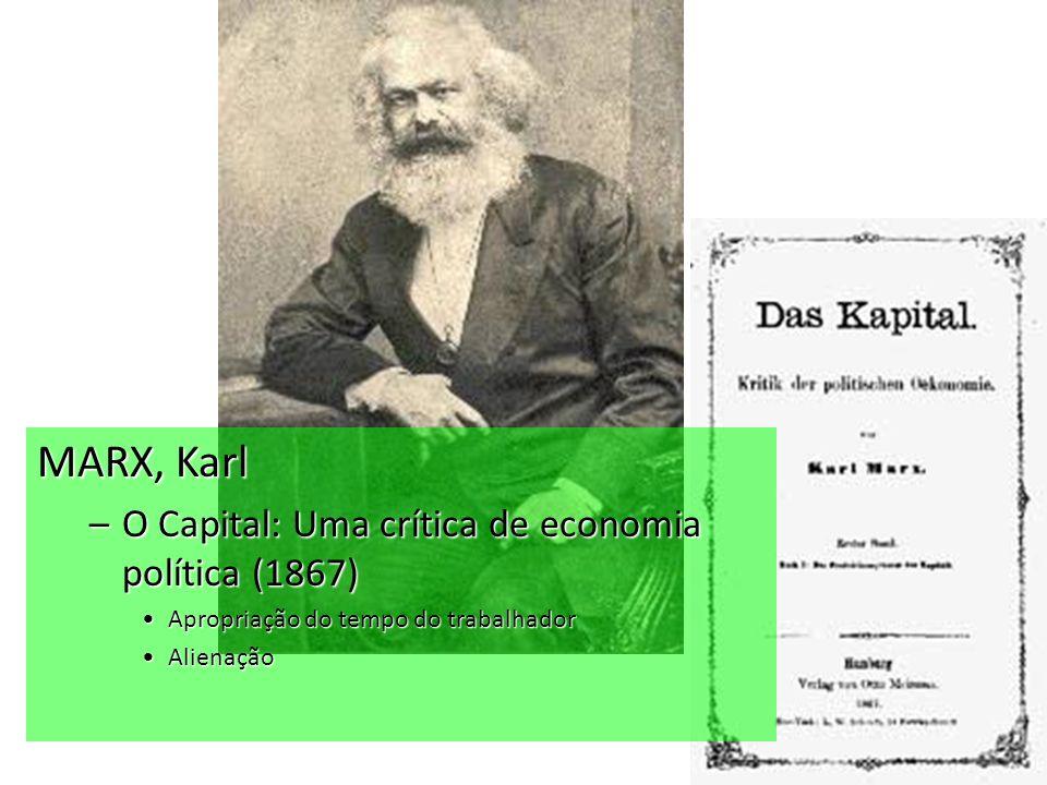 MARX, Karl O Capital: Uma crítica de economia política (1867)