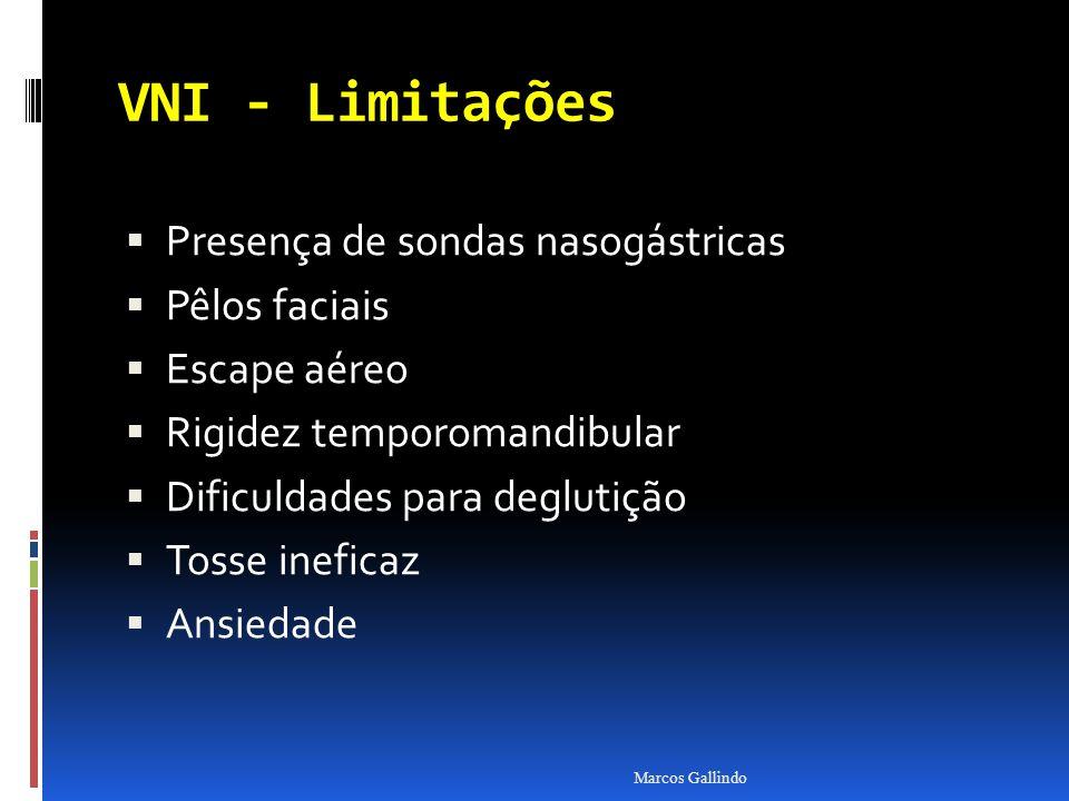 VNI - Limitações Presença de sondas nasogástricas Pêlos faciais
