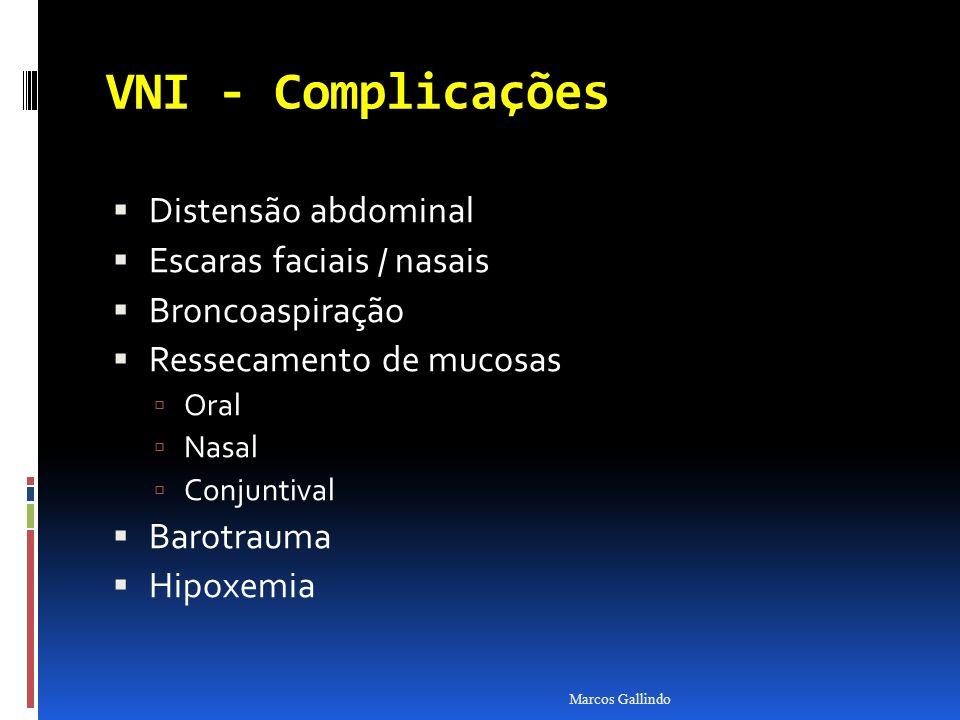 VNI - Complicações Distensão abdominal Escaras faciais / nasais