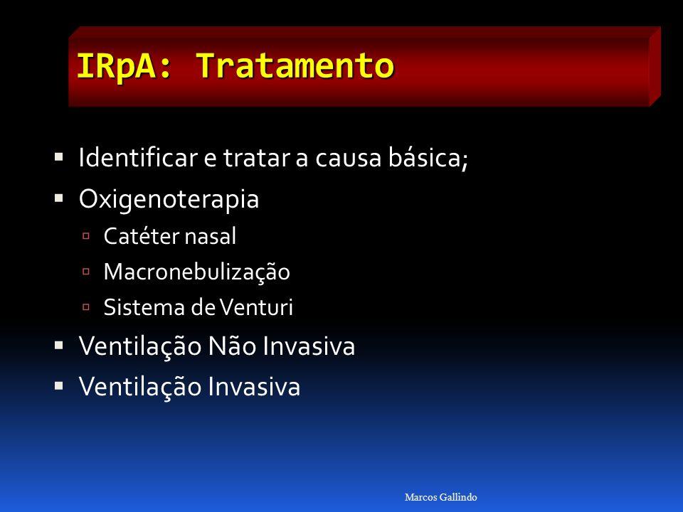 IRpA: Tratamento Identificar e tratar a causa básica; Oxigenoterapia