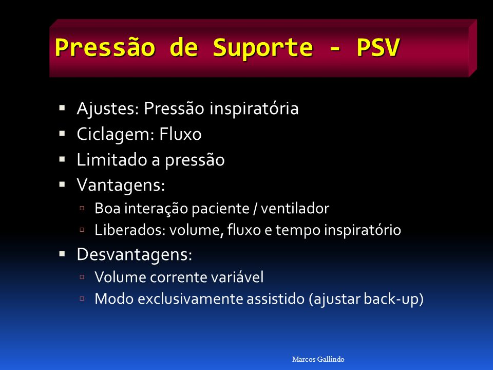 Pressão de Suporte - PSV