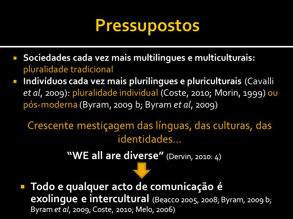 Pressupostos WE all are diverse (Dervin, 2010: 4)