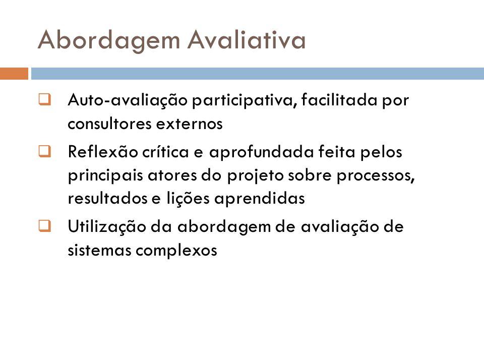 Abordagem Avaliativa Auto-avaliação participativa, facilitada por consultores externos.